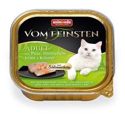 Консервы ANIMONDA Vom Feinsten Adult для взрослых кошек с индейкой, куриной грудкой и травами - фото 9453