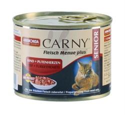 Консервы ANIMONDA CARNY Senior для пожилых кошек с говядиной и сердцем индейки - фото 9565