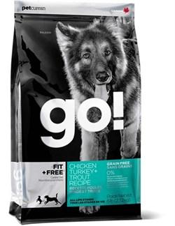 Беззерновой сухой корм GO! NATURAL для щенков и собак всех возрастов 4 вида мяса с индейкой и курицей, лососем - фото 9689