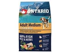 Сухой корм ONTARIO для взрослых собак средних пород 7 видов рыб и рис
