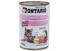 Консервы ONTARIO для котят с курицей креветками и рисом