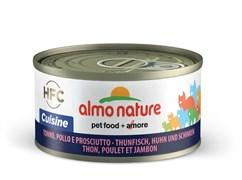 Консервы ALMO NATURE HFC Adult Cat Tuna Сhicken and Рam Cuisine для взрослых кошек с тунцом, курицей и ветчиной 75% мяса
