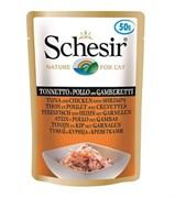 Пауч SCHESIR для взрослых кошек тунец с цыпленком и креветками в желе