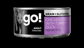 Консервы беззерновые GO! NATURAL для взрослых кошек с уткой, курицей и индейкой (Grain Free Chicken Stew with Turkey + Duck CF)