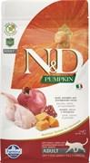Беззерновой cухой корм FARMINA ND для взрослых кошек с перепелом, тыквой и гранатом