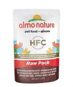 Пауч ALMO NATURE для взрослых кошек с куриным филе и ветчиной 75% мяса  Classic Raw Pack – Chicken Fillet with Ham