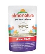 Пауч ALMO NATURE Classic Raw Pack – Chicken Breast and Duck Fillet для взрослых кошек с куриной грудкой и утиным филе 75% мяса