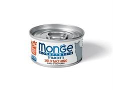 Консервы MONGE Monoprotein для взрослых кошек хлопья из индейки на пару
