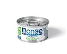 Консервы MONGE Monoprotein для взрослых кошек хлопья из кролика на пару