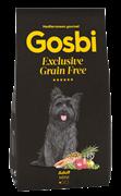 Беззерновой cухой корм GOSBI Exclusive GF для взрослых собак малых пород с лососем и янгенком