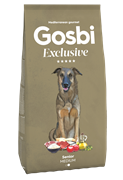Низкозерновой cухой корм GOSBI Exclusive для пожилых собак средних пород с курицей, ягненком и рыбой