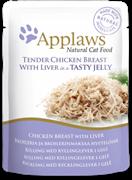 Пауч APPLAWS для взрослых кошек кусочки курицы с печенью в желе Chicken with liver in jelly