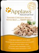 Пауч APPLAWS для взрослых кошек кусочки курицы и говядины в желе Chicken with beef in jelly