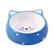 Миска керамическая для кошек КерамикАрт Мордочка кошки голубая
