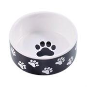 Миска керамическая для собак КерамикАрт черная с лапками