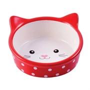 Миска керамическая для кошек КерамикАрт Мордочка кошки красная в горошек