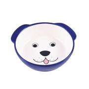 Миска керамическая для собак КерамикАрт Мордочка собаки синяя
