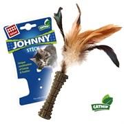Игрушка GIGWI JOHNNY STICK для кошек прессованная мята с перьями с одной стороны