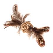 Игрушка GIGWI для кошек плетеный мячик с перьями
