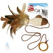 Игрушка-дразнилка GIGWI для кошек Рыбка с перьями на резинке