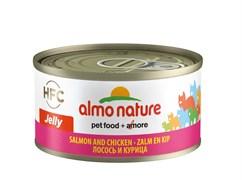 Консервы ALMO NATURE HFC Jelly Adult Cat Salmon Chicken для взрослых кошек с лососем и курицей