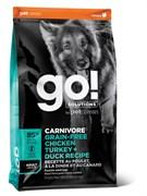 Беззерновой сухой корм GO! NATURAL для взрослых собак 4 вида мяса с индейкой и курицей, лососем CHICKEN TURKEY DUCK ADULT RECIPE FOR DOGS