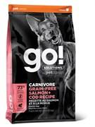 Беззерновой сухой корм GO! NATURAL Holistic New для щенков и собак c Лососем и Треской (GO! CARNIVORE GF Salmon + Cod Recipe DF 34/16)