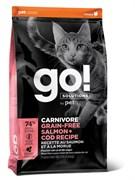 Беззерновой сухой корм GO! NATURAL Holistic для котят и кошек с Лососем и Треской (GO! CARNIVORE GF Salmon + Cod Recipe for Cats) 42/16