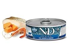Консервы FARMINA ND CAT OCEAN COD, SHRIMP/PUMPKIN для взрослых кошек с филе трески, креветками и тыквой
