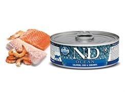 Консервы FARMINA ND CAT OCEAN SALMON, COD/SHRIMP для взрослых кошек с лососем, филе трески и креветками