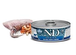 Консервы FARMINA ND CAT OCEAN SEA BASS, SQUID/SHRIMP для взрослых кошек с сибасом, кальмаром и креветками