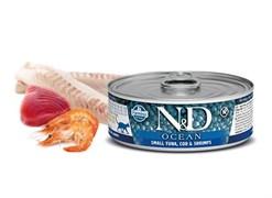 Консервы FARMINA ND CAT OCEAN TUNA, COD/SHRIMP для взрослых кошек с тунцом, филе трески и креветками