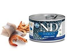 Консервы FARMINA ND DOG OCEAN HERRING/SHRIMP MINI для взрослых собак малых пород с сельдью и креветками
