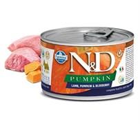 Консервы FARMINA ND DOG LAMB, PUMPKIN/BLUEBERRY MINI для взрослых собак малых пород с ягненком, тыквой и черникой