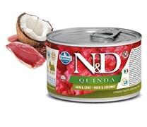 Консервы FARMINA ND DOG QUINOA DUCK/COCONUT MINI для взрослых собак малых пород с уткой, киноа и кокосом для кожи и шерсти