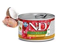 Консервы FARMINA ND DOG QUINOA QUAIL/COCONUT MINI для взрослых собак малых пород с перепелом, киноа и кокосом для кожи и шерсти