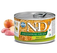Консервы низкозерновые FARMINA ND DOG ANCESTRAL GRAIN BOAR/APPLE MINI для взрослых собак малых пород с кабаном и яблоком