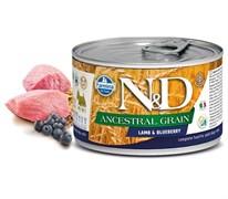 Консервы низкозерновые FARMINA ND DOG ANCESTRAL GRAIN LAMB/BLUEBERRY MINI для взрослых собак малых пород с ягненком и черникой