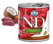 Консервы FARMINA ND DOG QUINOA VENISON/COCONUT для взрослых собак всех пород с олениной, киноа и кокосом для кожи и шерсти