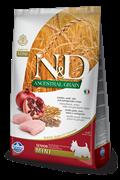 Низкозерновой cухой корм FARMINA ND для пожилых собак мелких и средних пород с курицей и гранатом