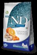 Беззерновой cухой корм FARMINA ND OCEAN для взрослых собак малых пород рыба с апельсином и тыквой