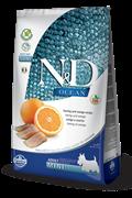 Беззерновой cухой корм FARMINA ND OCEAN для взрослых собак мелких пород рыба с апельсином
