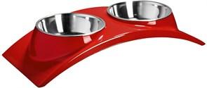 """Миска двойная SuperDesign на меламиновой подставке """"Элеганс"""" красная"""