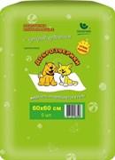 Пеленки гелевые для животных Доброзверики с суперабсорбентом 60х60 см, Сухие лапки