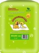 Пеленки гелевые для животных Доброзверики с суперабсорбентом 60х90 см, Сухие лапки