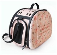 Складная сумка-переноска Ibiyaya для собак и кошек до 6 кг бледно-розовая в цветочек 46 х 32 х 30 см