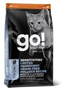 Беззерновой сухой корм GO! NATURAL Holistic для котят и кошек с чувствительным пищеварением с минтаем