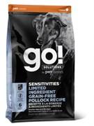 Беззерновой сухой корм GO! Limited Ingredient Pollock Recipe Dog Grain Free для щенков и взрослых собак с минтаем для чувствительного пищеварения