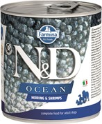 Консервы FARMINA ND DOG OCEAN HERRING/SHRIMP для взрослых собак всех пород с сельдью и креветками