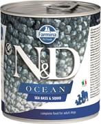 Консервы FARMINA ND DOG OCEAN SEA BASS/SQUID для взрослых собак всех пород с сибасом и кальмаром